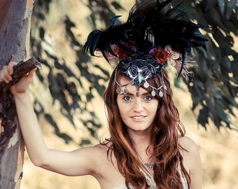 Feathered Festival Headpiece, Burning Man Headpiece, Nymph headDress, Belly dance Fantasy Headpiece, Tribal fusion Headpiece, Wild Feather