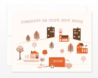 New Home Town Card, New House Greeting Card - Housewarming Card - New Place Card - Congratulations Card, Moving Card, New Town, New City