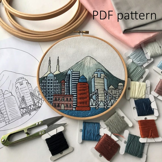 Portland Or Hand Embroidery Pattern Pdf Embroidery Hoop Art