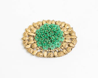 Vintage 1930s Brooch - Filigree Goldtone 3D Flowers Green Ornate Round Pin