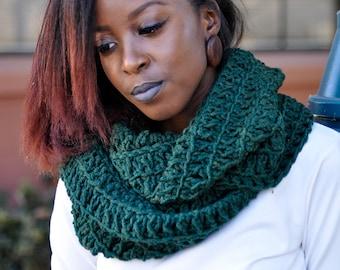 Warm Chunky Green Crochet infinty Scarf