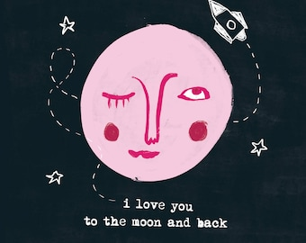 I Love You Greetings Valentines Card Quirky Moon Character Illustration