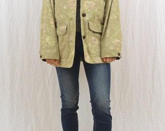 Vintage Floral Barn Jacket, Size Small-Medium, L.L Bean, Grunge, 90's Clothing, Corduroy Details, Mori Girl, Spring Jacket, Tumblr Clothing