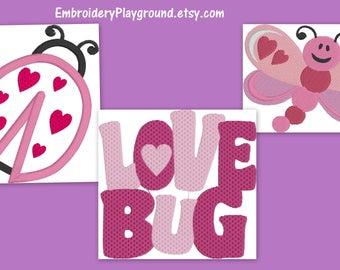 Love Bug - Embroidery Design - Dragonfly - Lady Bug - Childs Shirt Design - Valentine's Day Design