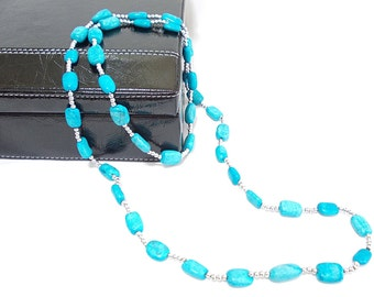 Free Shipping-Stylish turquoise long pendant- Turquoise stones and grey beads- Blue pendant- Pendant of dreams- Long necklace- OOAK