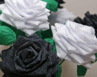 Paper Flowers Bouquet - Dozen (12) Long-stem Black and White