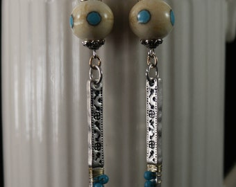 Handmade Lampwork Earrings, Ivory, Turquoise, Silver Colored Charms