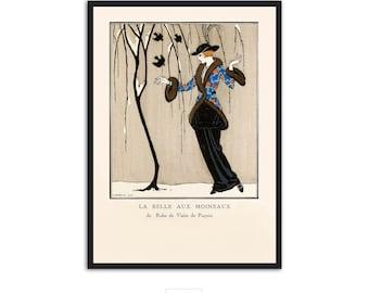 """Art Deco fashion illustration """"La Belle Aux Moineaux"""" by Georges Barbier, IL059."""