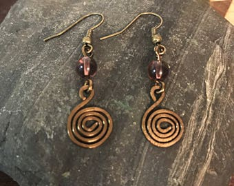 Bronze Wire Earrings with Purple Beads, Hammered Spiral, Hook Earrings
