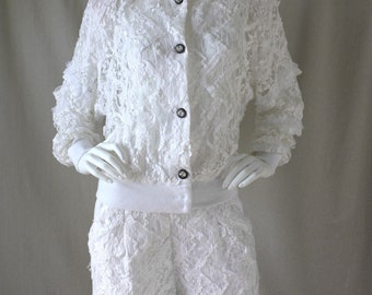 Vintage 80s 2-Piece White Cutout Lace and Ribbons Jacket Top & Short Set Outfit / Crystal Buttons / Cotton / Boho / Festival | Small, Medium