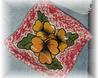 Hand built Pansy Candy or Serving Dish
