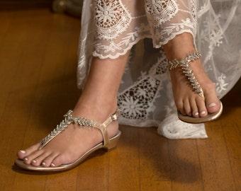 Gold Wedding Shoes Gold Wedding Sandals Bridal Sandals with Rhinestone Design