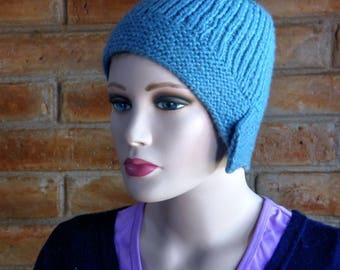 Merino Wool Knit cap flapper, powder blue