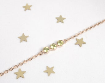 Bracelet Silver 925 rose gold and peridot