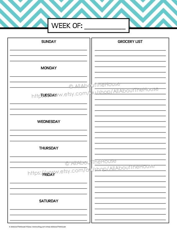 Weekly Meal Planner Printable Chevron Blue Menu Planner PDF Editable  Household Binder 2014 2015 Day Calendar Agenda Add On Letter Daily