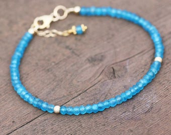 Natural Neon Blue Apatite Bracelet 14k Yellow Gold Filled , Stacking, Beaded,  Gemini Birthstone , Wedding , Bridal , from Canada Bangle