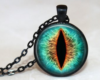 Turquoise Cat's Eye Pendant, Necklace or Key Chain - Choice of Silver, Bronze, Copper or Black Setting - Fantasy, Animal Eye, Cat