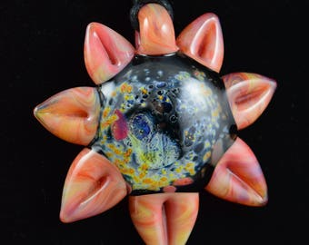 Borosilicate Glass Silver Galaxy Sunflower Pendant