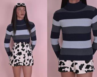 90s Striped Ribbed Turtleneck Sweater/ Medium/ 1990s/ Long Sleeve
