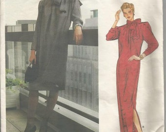 1980s Givenchy Day Evening Dress Tie Collar Low Armholes Vogue Paris Original 1309 Uncut FF Size 16 Bust 38 Women's Vintage Sewing Pattern