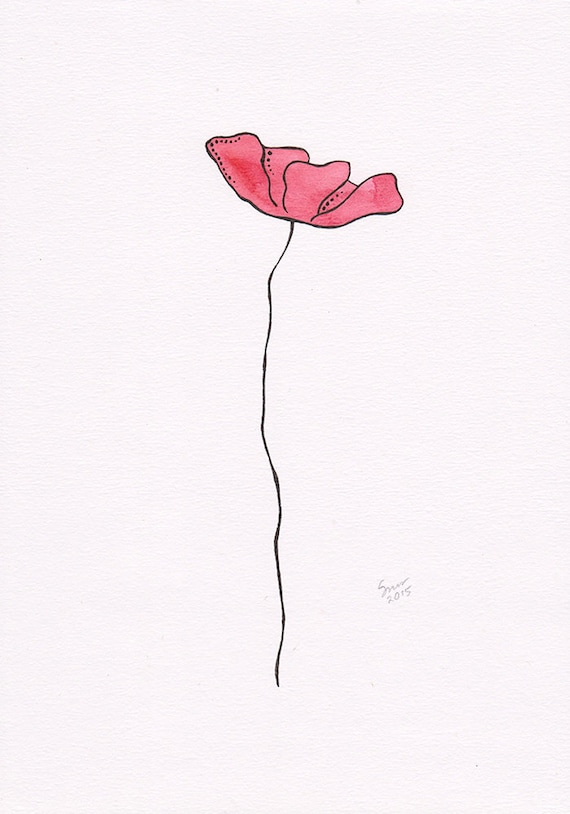 Items Similar To Red Flower Illustration Single Poppy Drawing Original Floral Art Watercolor And Ink Picture On Etsy