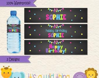 Girl Monster Birthday Water Bottle Labels for your Little Monster Bash • Monster Party Decoration • Waterproof Monster Water Bottle Labels