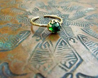 Emerald Green Rose Cut Delicate CZ Ring in brass crown setting 5mm