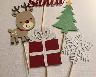 Christmas cupcake toppers-Ready to Ship!!