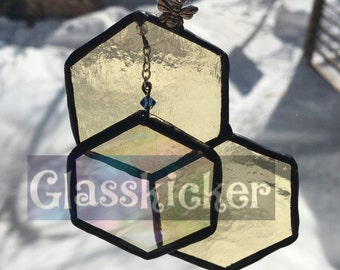 A: Bee and Hexagon 3D illusion suncatcher.