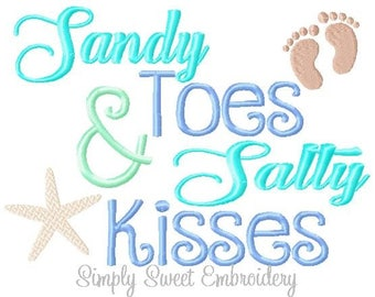 Sandy Toes and Salty Kisses Machine Embroidery Design