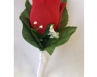 Red boutonniere  Red rose Boutonniere Groomsmen boutonniere men boutonniere wedding boutonniere silk rose flower boutonniere Boutonnieres
