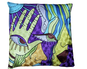 Kandinsky-modern-decorative-pillow-cover-abstract-design-hand-embroidered-silk-home Decor-high End pillow-Personalized Gift-Bridesmaid gift.