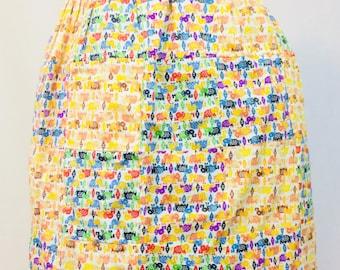 Vintage Half Apron Hostess Apron Patchwork Fabric Elephants  //Cotton Fabric Print  //1970's MCM Apron