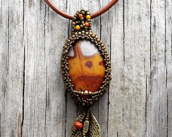 Beaded Cabochon Beaded Bale Necklace  - Bead Weaving - Statement Necklace - Fire Picture Jasper Cabochon Pendant - Leather Cord - BOHO