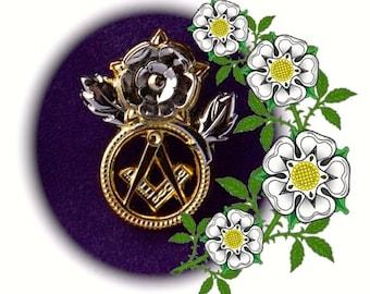 White Rose of Yorkshire Masonic / Freemasons Pin Badge