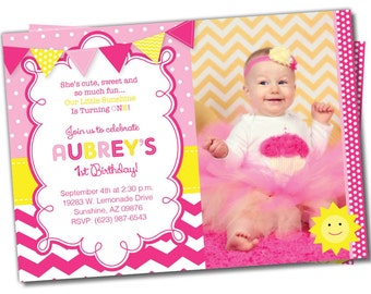 You are my Sunshine Birthday Invitation, Sunshine invite, Sunshine Birthday Party, Photo Invite, Hot Pink, Yellow, Lemonade, Chevron (S3)