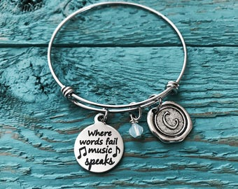 Where Words, Fail Music Speaks, MUSIC GIFT, Silver Bracelet, Music Jewelry, Music Bracelet,Band, Music teacher, Charm Bangle, gifts for