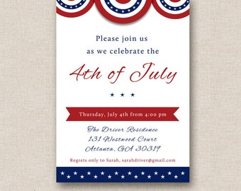 4th of july baby shower red white and blue invite bbq