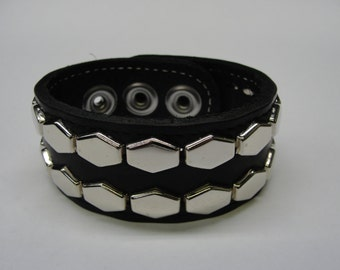 """stitched Black Latigo Leather Wristband 1-1/4"""" ( 32 mm ) wide band With Chrome/Silver Hex hexagon Studs and Stainless Steel snap closure"""