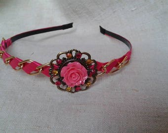headband pink and gold chain
