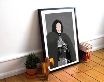 Jon Snow Game of Thrones inspired Art Print / Poster / Wall Art / TV Poster / House of Stark / Minimalist / King of the North / GOT
