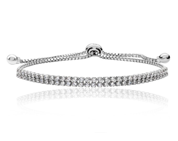 """925 Sterling Silver Double Row Claw Set Cz 7"""" Friendship Toggle Bracelet"""
