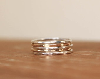 Five Hammered Gold and Silver Stacking Rings