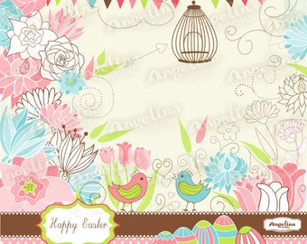Easter Flowers digital Clip Art set for Scrapbooking and card making. 49 vector elements and 3 papers.
