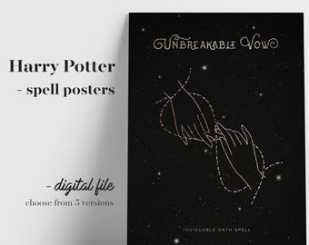 Witchcraft and Wizardry Print, Spells and Magic, Alohomora Print, Wingardium Leviosa, Unbreakable Vow, Magic Spell Print, Book Lover Gift