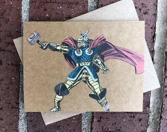 Vintage Marvel Avengers - Mighty Thor Hammer Swinging Comic Book Greeting Card (Blank)
