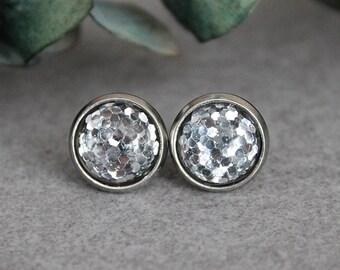 Silver Glitter Earrings, Silver Stud Earrings, Silver Earrings, Silver Post Earrings, Glitter Stud Earrings, Small Glitter Earrings