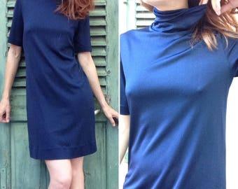 1960s Mods GUITARE navy blue turtle neck tub dress dress sz S
