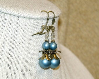 Vintage Inspired Flower Earrings in Dusty Blue and Antique Bronze