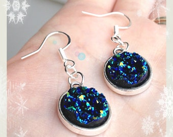 Navy resin druzy silver earrings, Sterling silver earrings, Blue and sea green druzy earrings, Mermaid jewellery, Mermaid party.